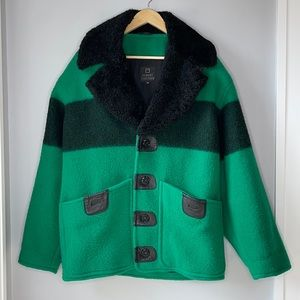 ROBERT COMSTOCK RARE WOOL & LEATHER COAT - Oversized Lux